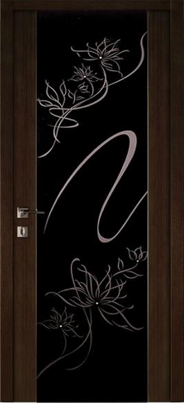межкомнатная дверь фантазия венге с черным стеклом стразы Swarovski
